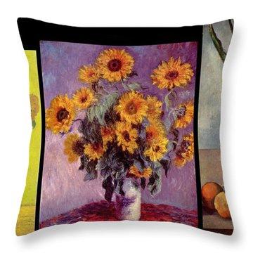Three Vases Van Gogh - Cezanne Throw Pillow