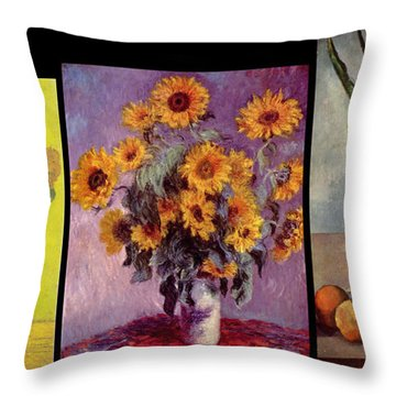 Three Vases Van Gogh - Cezanne Throw Pillow by David Bridburg