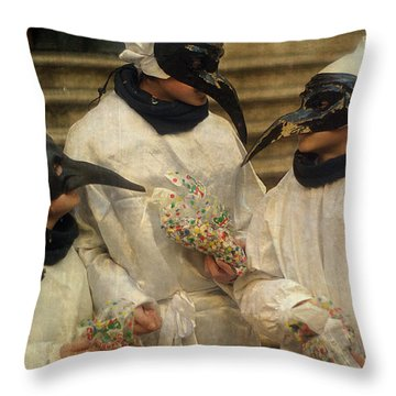 Three Venice Boys Celebrating At Carnival Throw Pillow by Suzanne Powers