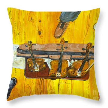 Three Violins Throw Pillow