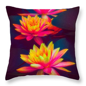 Throw Pillow featuring the photograph Three Waterlilies by Chris Lord