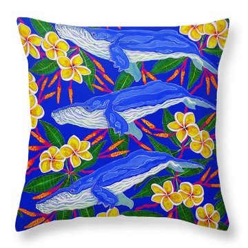 Throw Pillow featuring the painting Three Whales  by Debbie Chamberlin