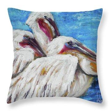 Three White Pelicans Throw Pillow