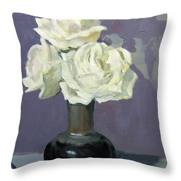 Three White Roses,abstract Background Throw Pillow