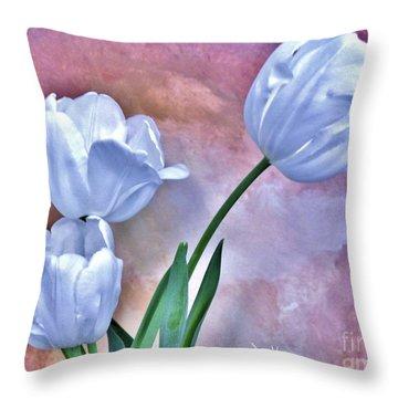 Three White Tulips Throw Pillow by Marsha Heiken