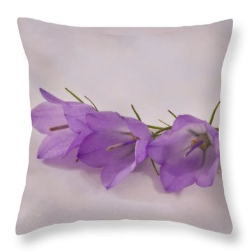 Three Wild Campanella Blossoms - Macro Throw Pillow by Sandra Foster