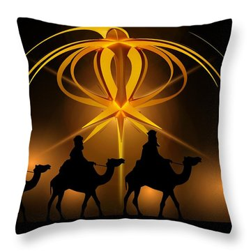 Three Wise Men Christmas Card Throw Pillow