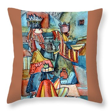 Three Wise Men Throw Pillow by Mindy Newman