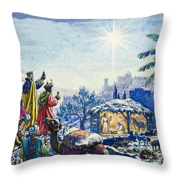 Three Wise Men Throw Pillow by Unknown