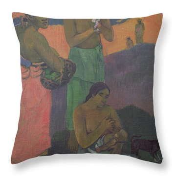 Three Women On The Seashore Throw Pillow by Paul Gauguin