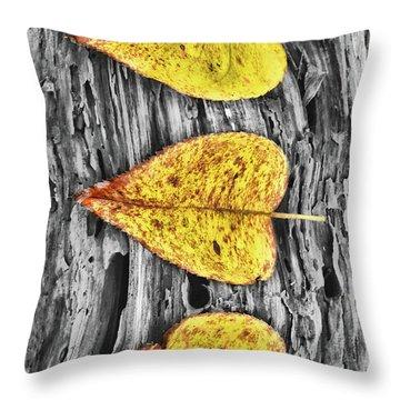 Three Yellow Leaves Throw Pillow