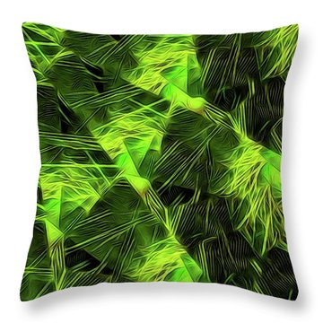 Threshed Green Throw Pillow by Ron Bissett