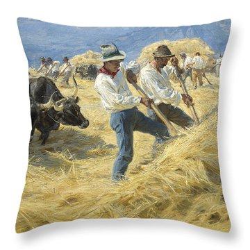 Threshing In The Abruzzi, 1890 Throw Pillow