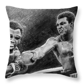 Thrilla In Manilla Pencil Drawing Throw Pillow