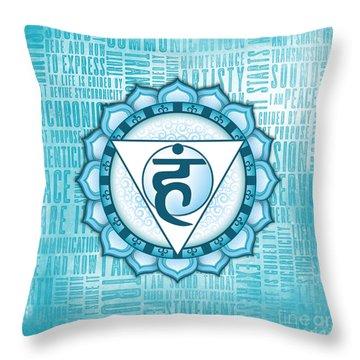 Throat Chakra - Awareness Throw Pillow by David Weingaertner
