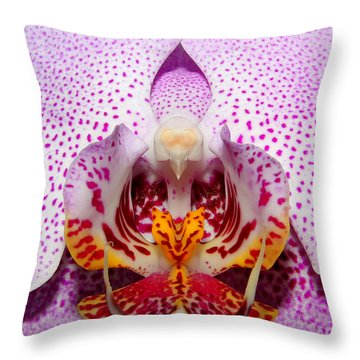 Throw Pillow featuring the photograph Throat Of An Orchid by Judy Vincent
