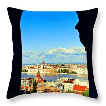 Through An Arch In Budapest Throw Pillow by Madeline Ellis