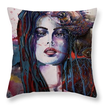 Throw Pillow featuring the painting Through My Mind by Geni Gorani