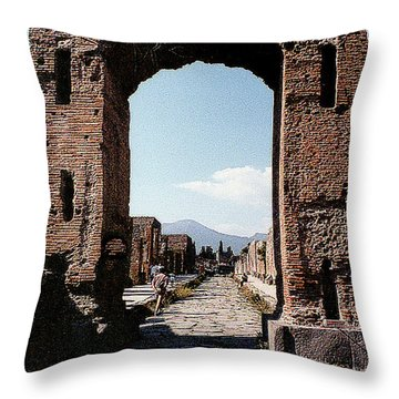 Throw Pillow featuring the photograph Through The Arched City Gate Into Reclaimed Pompei, Italy by Merton Allen
