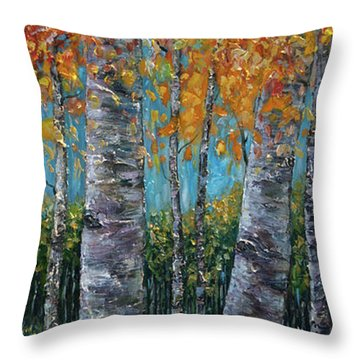 Through The Aspen Trees Diptych 1 Throw Pillow