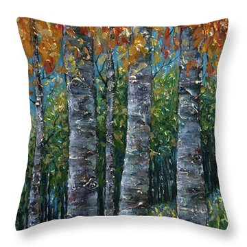 Through The Aspen Trees Diptych 2 Throw Pillow