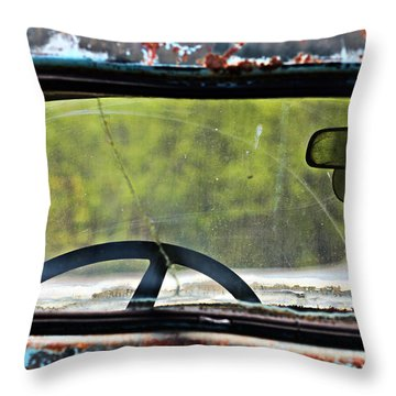 Through The Back Window- Antique Chevrolet Truck- Fine Art Throw Pillow