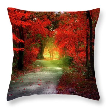 Through The Crimson Leaves To A Golden Beginning Throw Pillow