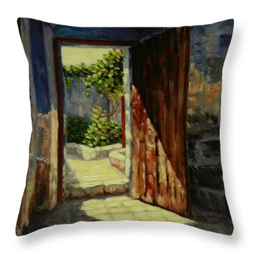 Through The Door Throw Pillow