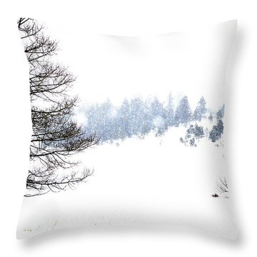 Through The Falling Snow Throw Pillow