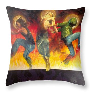 Through The Fire Throw Pillow by Christopher Marion Thomas