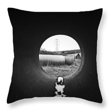 Through The Pipe Throw Pillow by Keith Elliott