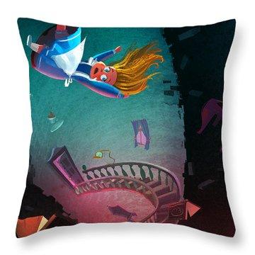 Through The Rabbit Hole Throw Pillow
