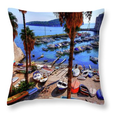 Through The Trees Dubrovnik Harbour Throw Pillow