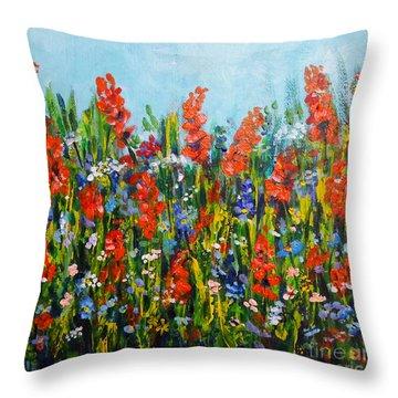 Through The Wild Flowers Throw Pillow