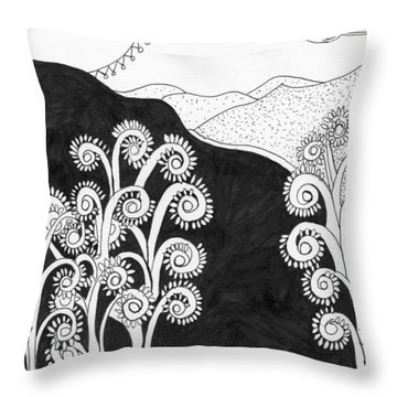 Throw Pillow featuring the painting Through The Woods by Lou Belcher