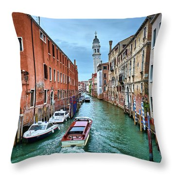 Through Venetian Canals Throw Pillow