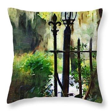 Throw Pillow featuring the digital art Thru The Gate by Donna Bentley