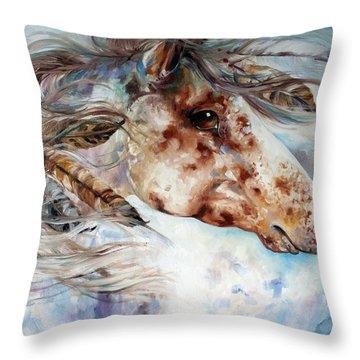 Thunder Appaloosa Indian War Horse Throw Pillow