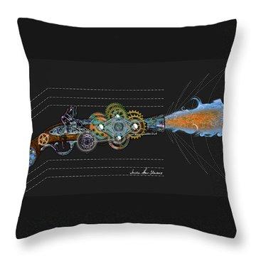 Throw Pillow featuring the digital art Thunder Gun by Iowan Stone-Flowers