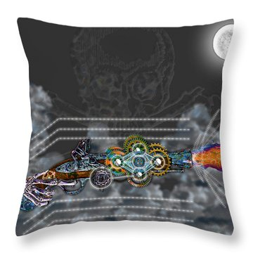 Throw Pillow featuring the digital art Thunder Gun Of The Dead by Iowan Stone-Flowers