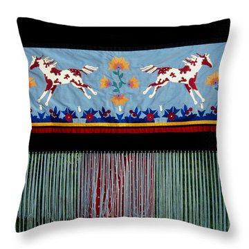 Throw Pillow featuring the tapestry - textile Thunder Pony by Chholing Taha