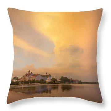 Thunderstorm Over Disney Grand Floridian Resort Throw Pillow