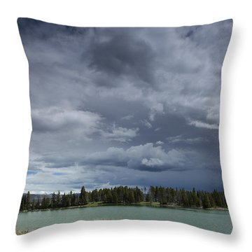 Thunderstorm Over Indian Pond Throw Pillow