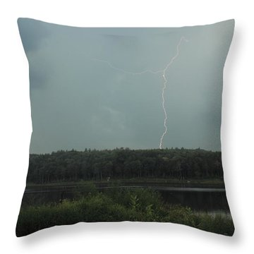 Thunderstorm Over Otter Brook Lake Throw Pillow