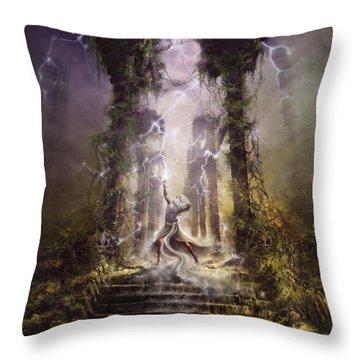 Thunderstorm Wizard Throw Pillow