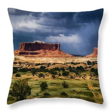 Thunderstorms Approach A Mesa Throw Pillow