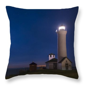 Throw Pillow featuring the photograph Tibbets Point Light Night by Mark Papke