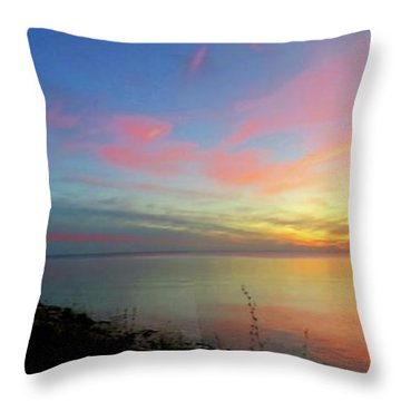 Sunset At Tibbetts Point Light, 2015 Throw Pillow