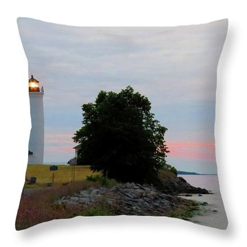 Tibbetts Point Light Sunset Throw Pillow