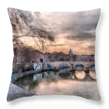 Tiber - Aquarelle Throw Pillow by Sergey Simanovsky